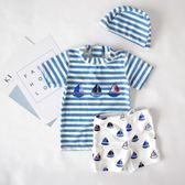 兒童泳衣男童度假水手服分體防曬游泳衣