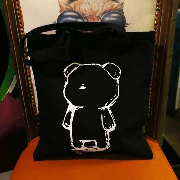 618年㊥大促 韓國簡約暴力熊帆布袋男女式文藝環保購物袋單肩帆布包袋