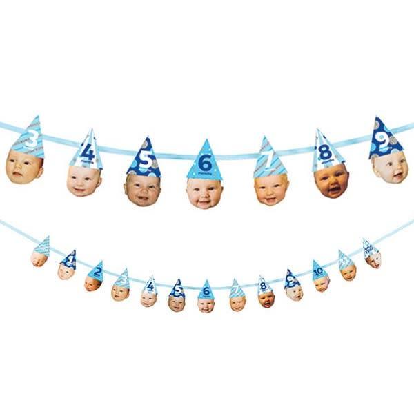 照片裝飾串-藍色派對帽