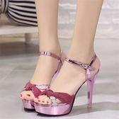 夏季新款高跟細跟時尚防水台魚嘴女鞋性感一字扣露趾百搭涼鞋  卡布奇诺