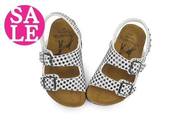 女童涼鞋 中小童 中底真皮 台灣製 星星滿版 拖鞋 零碼出清 I6497#白色◆OSOME奧森童鞋