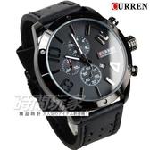 CURREN 仿三眼設計 雙色時尚潮流皮革腕錶 男錶 大錶盤 飛行錶 學生錶 數字錶 黑x灰 CU8243黑