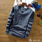 中國風男裝春季亞麻布料T恤中式復古上衣加大碼棉麻長袖純色t桖潮 店慶