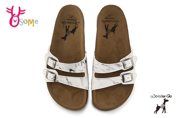 Wonder Go 拖鞋 成人女款 大童 時尚大理石 舒適牛皮 台灣製 休閒拖鞋 F5317#白色◆OSOME奧森鞋業