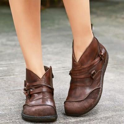 真皮短靴 手工 平底 舒適  復古 休閒 牛皮女靴-夢想家-標準碼-1022