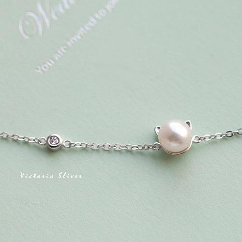 S925純銀 珍珠小貓咪手鍊 -維多利亞170568