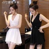 性感洋裝性感夜店女裝短裙21夏新款韓版修身低胸V領無袖大擺蕾絲連身裙 快速出貨