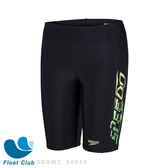 【SPEEDO】男孩運動及膝泳褲 Speedotech Logo Panel 黑綠  送浮兒樂萊卡泳帽