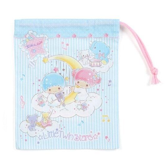 〔小禮堂〕雙子星 日製棉質束口袋《藍白》16x20cm.收納袋.縮口袋.雲朵音符系列 4901610-88362
