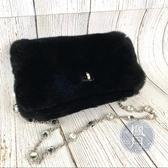 BRAND楓月 MIU MIU 5BD417 黑色 兔毛 水鑽 晚宴包 側背包