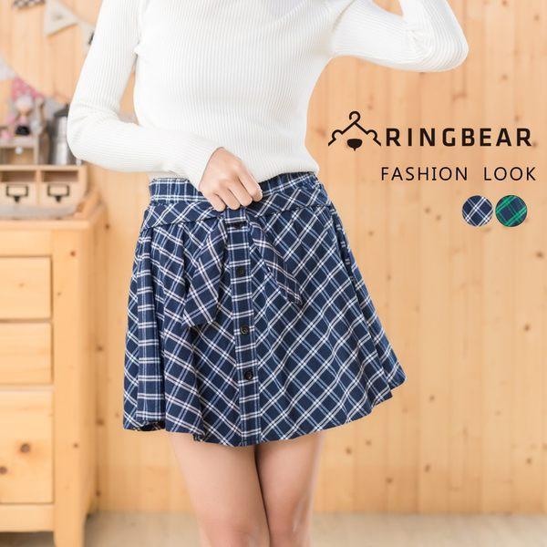 短裙--甜美學院風氣質蝴蝶結排釦裝飾鬆緊格紋褲裙(藍.綠XL-4L)-R173眼圈熊中大尺碼★