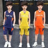 男童套裝夏裝2018新款運動套裝夏季童裝兒童背心短褲兩件套大童-Ifashion