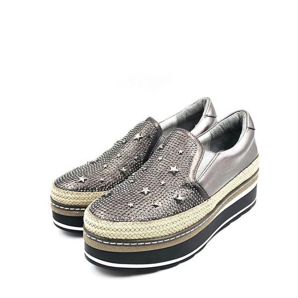 吉品 女鞋 厚底包鞋 亮片款 銀灰 - 114A10011