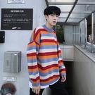 潮流男裝個性秋冬保暖打底衫 彩虹條紋印花男生針織衫 長袖男生韓版毛衣 男士毛衣時尚加厚上衣