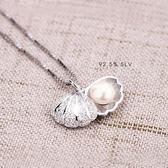 新款女士貝殼珍珠項鍊純銀小清新韓版簡約學生時尚飾品百搭 沸點奇跡