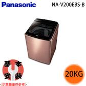【Panasonic國際】20公斤 直立式變頻洗衣機 NA-V200EBS-B 免運費