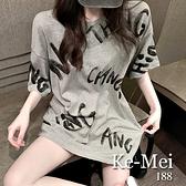 克妹Ke-Mei【AT68553】採購精選任二件188oversize復古個性字母圖印寬鬆T恤上衣