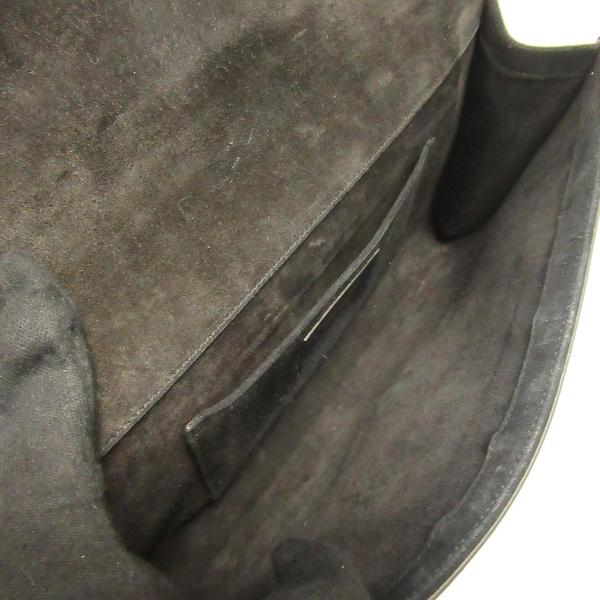 SAINT LAURENT YSL 聖羅蘭 黑色牛皮Y字金釦手拿包 CLUTCH 【BRAND OFF】
