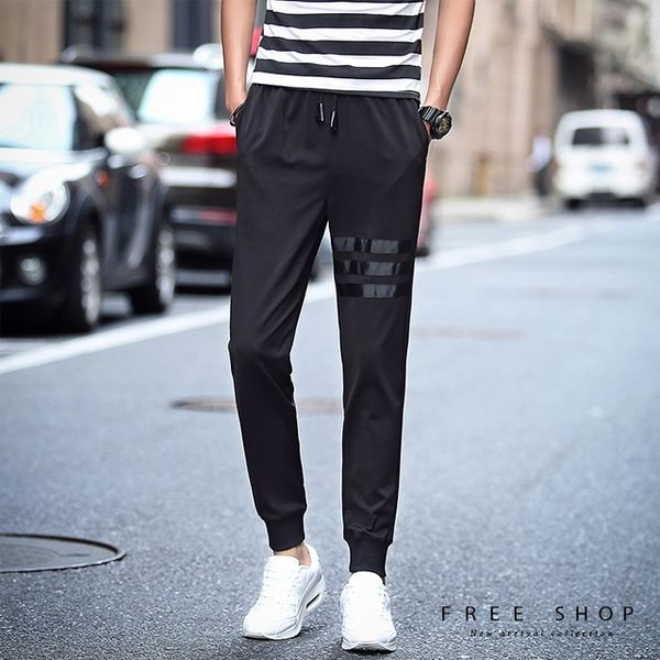 Free Shop [現貨] 韓版簡約三橫線夜跑束口縮口褲 彈力束口褲 黑/M/L/XL/2XL 小中大尺碼 【QZZZ1134】