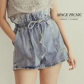單寧 短褲 Space Picnic|彈性抽繩雙邊大口袋單寧短褲(預購)【C19051006】