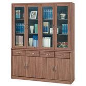 【森可家居】英倫工業風5.3尺書櫃組 8SB239-1 玻璃書櫥 木紋質感 MIT台灣製造