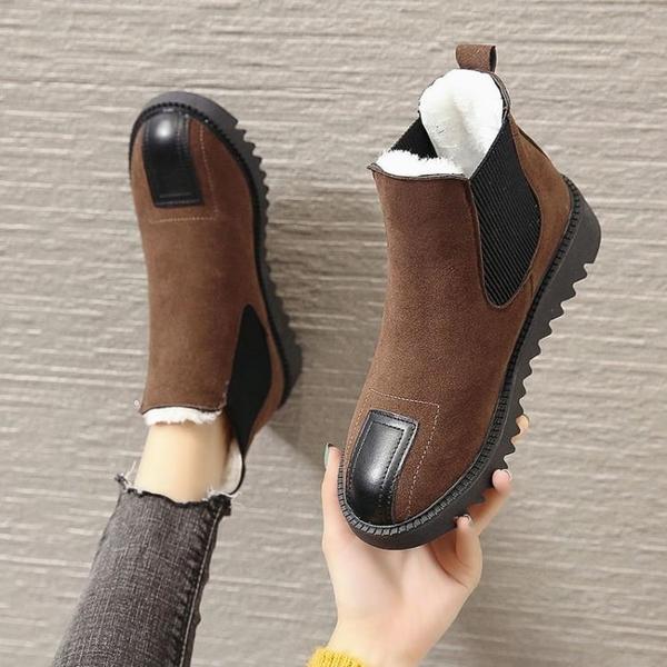 雪地靴女2020年新款加絨加厚冬季保暖平底復古短筒短靴棉鞋馬丁靴 童趣潮品