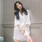 性感睡衣性感睡衣女春秋薄款白襯衫睡裙夏季冰絲2021中長款男友風大碼寬鬆 愛丫