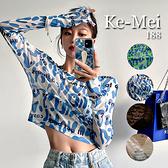 克妹Ke-Mei【AT70251】採購精選任二件188性感透視炫染字母長袖罩杉上衣