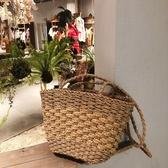 手工草編包側背編織包女文藝手提包草包小包包泰國度假復古沙灘包 美芭