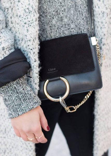 ■現貨在台■專櫃7折■2019秋冬 全新真品Chloe Faye 小款麂皮配平滑小牛皮斜背包 黑色