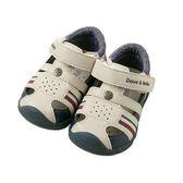 涼鞋 小童/大童 DaveBella 撞色皮質學步涼鞋 / 嬰兒鞋 / 休閒鞋 - 淺卡其配深藍雙邊紅白線條 DB5209