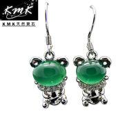 【KMK天然寶石】5克拉(南非辛巴威天然綠玉髓-耳環)