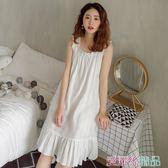 睡裙 夏天公主風棉質吊帶睡裙女士夏季薄款仙女風無袖睡衣性感洋裝子 愛麗絲
