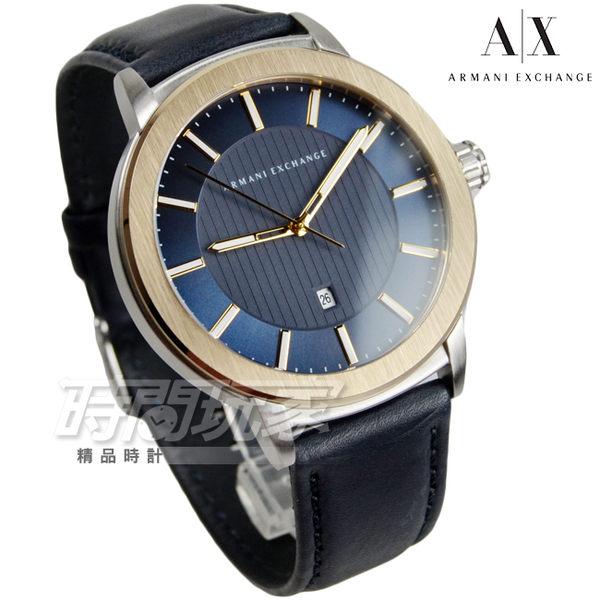A|X ARMANI EXCHANGE 知性簡約都會男錶 真皮錶帶 防水手錶 日期視窗 金x深藍x黑 AX1463
