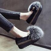 毛毛鞋毛毛鞋女冬外穿鬆糕厚底新款秋季兔毛加絨平底一腳蹬懶人瓢鞋伊芙莎