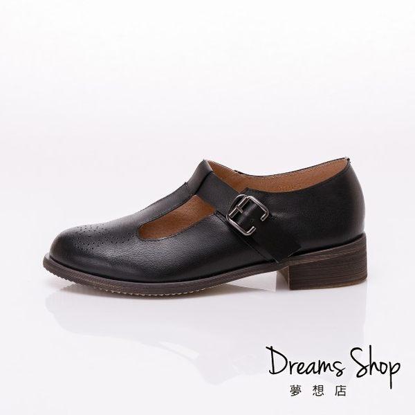 大尺碼女鞋-夢想店-時尚氣質款擦色頭層羊皮復古休閒鞋3.5cm(41-45)-黑色【JSP021-3】