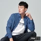【JEEP】男裝經典細格紋長袖襯衫(藍色)