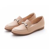 MICHELLE PARK 春夏新時尚英倫復古風真皮金屬馬銜釦平底鞋-卡其色