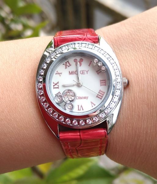 【卡漫城】 六折出清 米奇 手錶 紅色 水鑽 ㊣版 皮革錶 迪士尼 Mickey 米老鼠 女錶 卡通錶 造型時尚