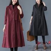 風衣外套 薄款風衣女中長款2020秋裝新款文藝寬鬆休閒氣質外套過膝大衣 VK3052