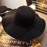 黑色復古大檐帽毛呢帽子女潮休閒百搭小禮帽