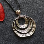 古銀項鏈 復古 民族風  古銀 做舊 多層圈圈長款項鏈 吊墜 毛衣鏈-夢想家- 0713