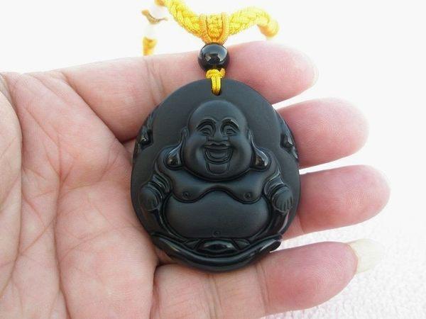 【歡喜心珠寶】【大尊彌勒佛法像墜子】天然黑曜岩雕「附保証書」彌勒佛亦稱財神,尋找有緣人