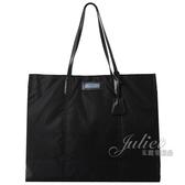 茱麗葉精品【全新現貨】PRADA 1BG183 GLACE'C厚尼龍直立式大購物包.黑