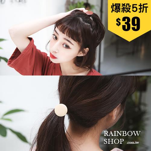 復古木質圓形方形造型髮圈-L-Rainbow【AB030701】