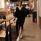 莫代爾洋裝 韓國夏裝純色寬鬆顯瘦莫代爾V領連身裙女半截袖正韓不規則長裙潮-Ballet朵朵