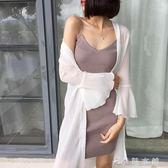 夏裝新款潮雪紡上衣泰國度假中長款喇叭袖防曬衫女開衫沙灘服   伊鞋本鋪