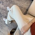 冰絲寬管褲女夏薄款寬鬆直筒顯瘦休閒褲高腰垂感白色拖地褲子春秋【快速出貨】