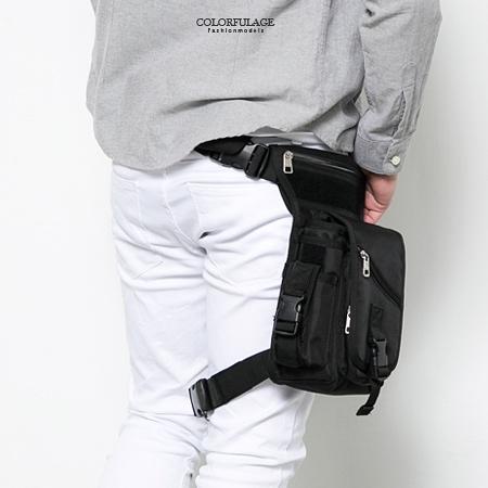 重機包 時尚全黑造型運動風腿包 防潑水設計 多夾層收納空間【NZ463】型男街頭