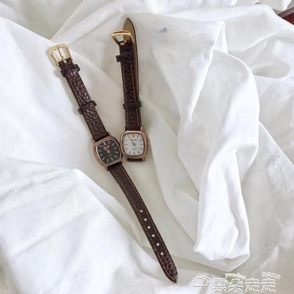 手錶復古方形手錶女ins風學生時尚文藝簡約氣質小錶盤學院風百搭女錶 雲朵走走